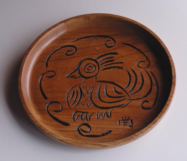 鳥図欅丸盆
