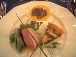 鴨のスモーク・ニンジンスープと小豆茶のジュレ・キッシュ