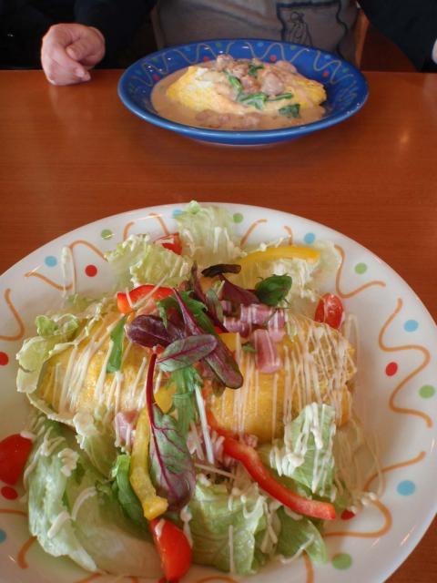 野菜サラダのオムライス