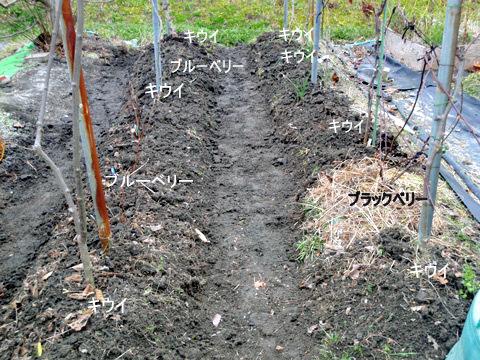 流れた土をかき上げ、溝を