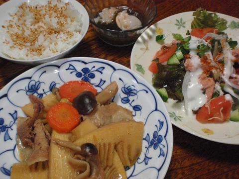 筍と豚肉の甘辛煮の献立