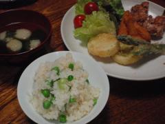 豆ご飯と天ぷらの献立