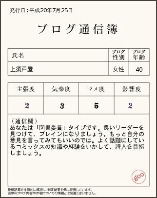 上須戸屋通信簿