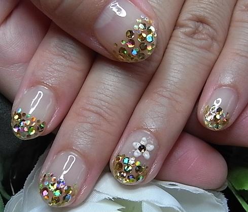 ゴールドホログラム+お花シール+スワロ