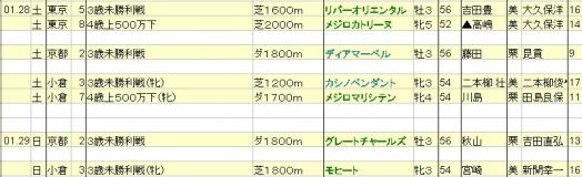 2012012829JRA出走予定