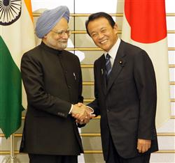 日印安保・麻生首相とシン首相