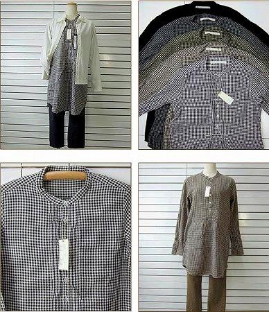 small-綿ウール綾織ギンガム、ピンタックプルオーバーロングシャツ