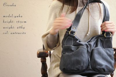 double pocket leather shoulder bag