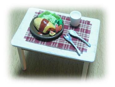 テーブルとオムライス♪