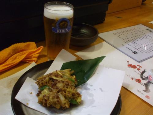 納豆かき揚げとビール