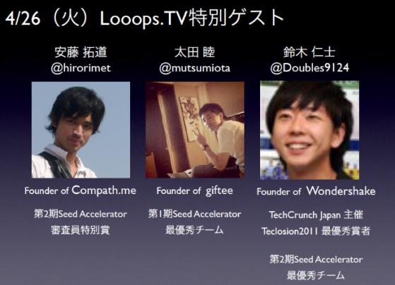 4/26(火)第10回Looops.TV特別ゲストの皆さん!