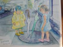 水彩画 雨の日