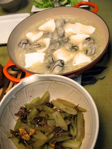 イタリアン湯豆腐とフキの小女子