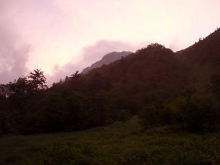 夕焼けの北岳
