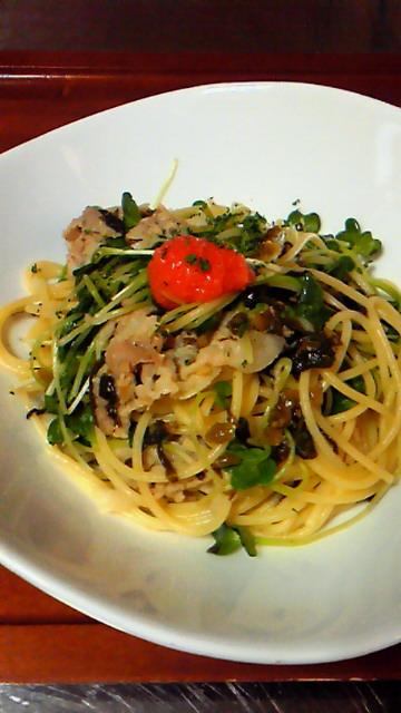 11-02-21豚と高菜のスパゲッティ 明太子風味