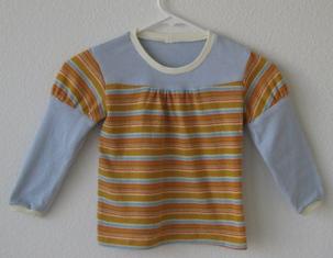パッチワークTシャツ-オレンジ水色