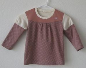 パッチワークTシャツ-白&あずき
