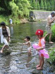 川辺の川遊び