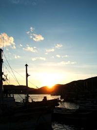 室津漁港の夕日