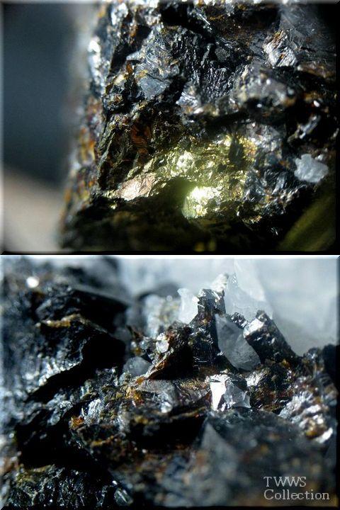 水晶&車骨鉱&黄銅鉱&閃亜鉛鉱_ペルー1母岩横