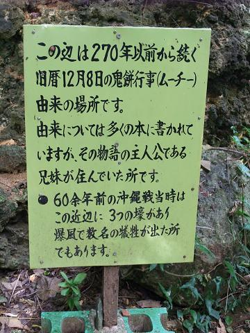 金城町の大アカギ群 鬼餅行事 (ムーチー) 看板