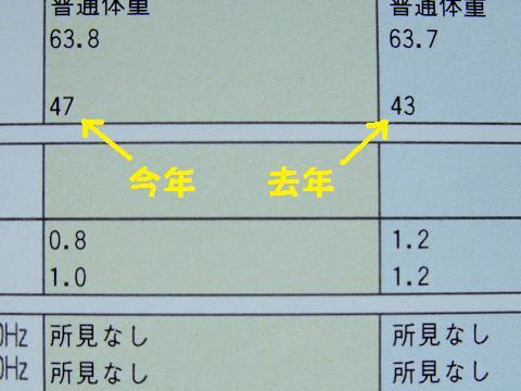 健康診断 2011 心拍数 前年度
