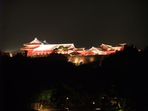 首里城 りゅうたん池越しの夜景
