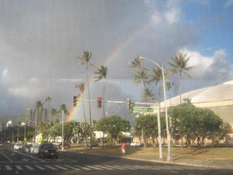 ハワイの虹は大きい