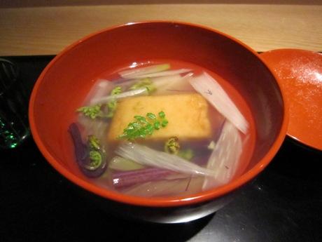 粟麩と山菜のお吸い物