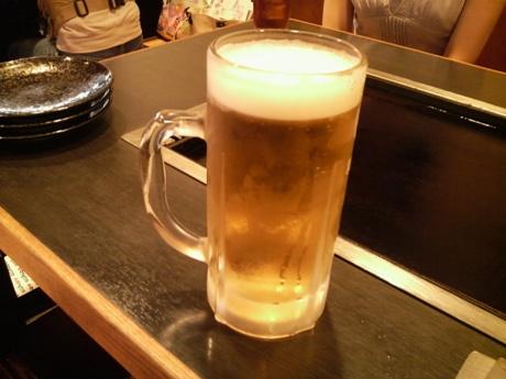 もんじゃにはビールが合う