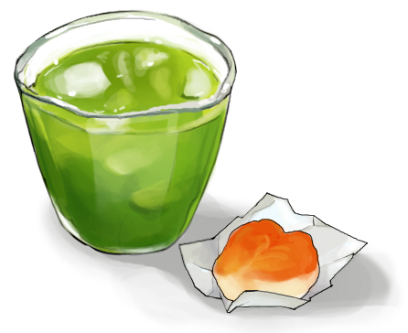食:グリーンティ&和菓子