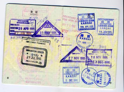 昔のパスポート