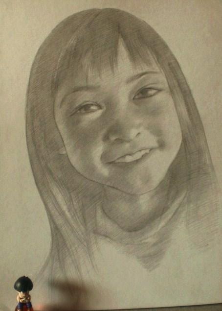 鉛筆画(女の子3)
