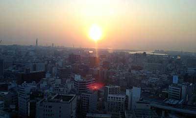展望台から夕日