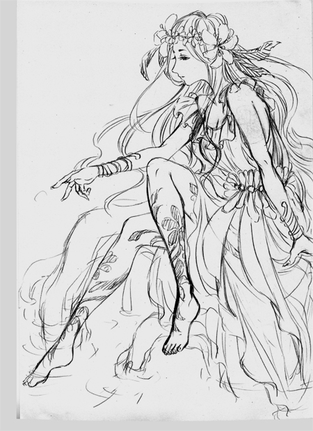 春の女神 下描き
