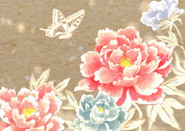 牡丹 蝶有り