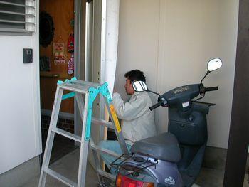 シート貼り施工中1