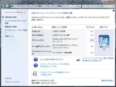 【EC19C-A52C】Windows Experience Index(Windows 7)