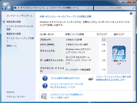 Windows Experience Index 結果